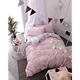 Papa&Mima Chickens Cute Brief Cartoon Style Duvet Cover Set Flat Sheet Pillow Cases 500TC Soft Cotton Fabric 3Pcs Twin Size Bedding Sets