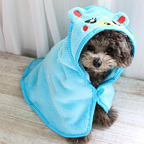 Aitey Dog Towel Microfiber Drying Pet Bath Towel Super Absorbent Dog Bathrobe (M)