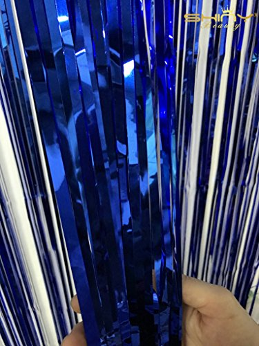 ShinyBeauty 3FTX8FT-Foil Fringe Curtain-RoyalBlue,Shimmer Photo Backdrops,Wedding/Party Decoration(Pack of 2) by ShinyBeauty (Image #1)