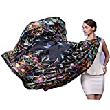 Novels-wear 2017new 100%mulberry Silk Scarf Wrap Luxury Brand Bird Print 51''L Big Square Shawl 16mm Hand Rolled Edge (black) 265G