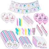 169pcs/Set Unicorn Party Supplies & Decorations - Disposable Tableware Set with Happy Birthday Banner, Balloons, Straws, Blowers, 9 Oz Cups, White & Pink Unicorn Balloons and More Serves 16 People