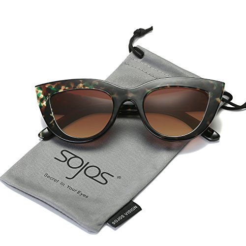 SojoS Retro Vintage Cateye Sunglasses for Women Plastic Frame Mirrored Lens SJ2939 With Green Tortoise Frame/Brown - Sunglasses Kitti