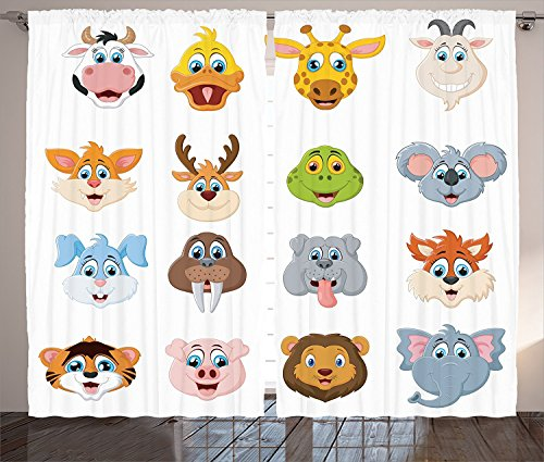 [Cartoon Decor Curtains Cartoon Comic Design of Collection of Smiling Animal Faces Visages Koala Fox Pi Caricature Living Room Bedroom Decor 2 Panel Set Multi,Size:2 x 54