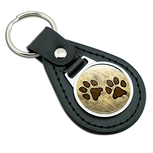 Grungy Tags (Grungy Pet Paw Prints Black Leather Metal Keychain Key)