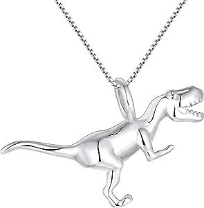 YL Collar de dinosaurio de plata925 Collar de plata 3D Tyrannosaurus colgante para mujeres y hombres