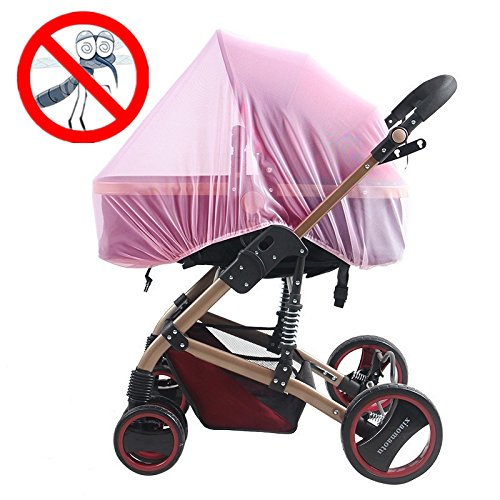 Strollers Mosquito Net by AT,Baby Universal Washable Pram Insect Cover Nets with Elasticated Keep Infants Away from Bee,Wasps,Mosquito,Insect, for Carry Cot,Bassinet ,Pushchair (pink) (Pink Around Push Buggy)