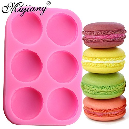 Star Trade Inc - 6 Cavity Macaroon Hamburger Cake Silicone Molds Fondant Cake Decorating Tools Chocolate Candy Mold Fimo Clay Soap Moulds ( 1 pcs)