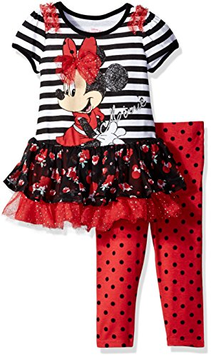 Disney Girls' Minnie Mouse 2-Piece Legging Set, Black, 4
