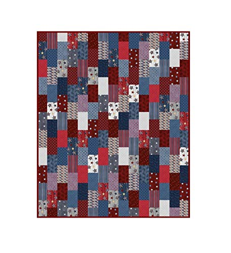 Patriotic Quilt Kit American Rustic Bricks 68 x 84 Inches Top Only