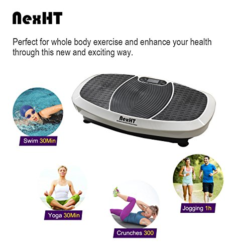 NexHT Dual Motors Fitness Vibration Platform,Whole Body Shape Exercise Machine (89013A),Vibration Plate Fit Massage Workout Trainer with Resistance Bands &Remote, Max User Weight 330lbs,White by NexHT (Image #1)