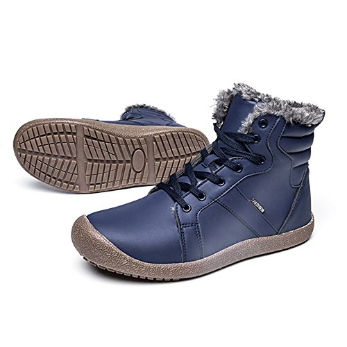 Fung-wong Mens Leather Fur Lined Winter Snow Boots High Top Warm Sneakers Blue Wwn6bs