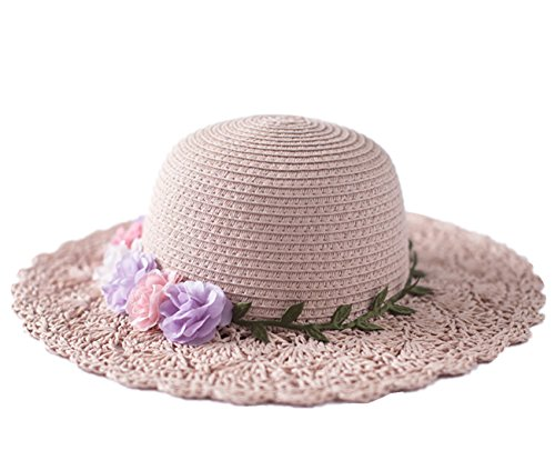 Kids Trim Brim Hat (Connectyle Kids Lovely Summer Crochet Paper Straw Hat with Flowers Beach Sun Protection Hats for)
