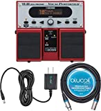 BOSS VE-20 Vocal Processor Multi Effects Pedal Bundle with Blucoil Slim 9V Power Supply AC Adapter and 10-FT XLR Microphone Cable