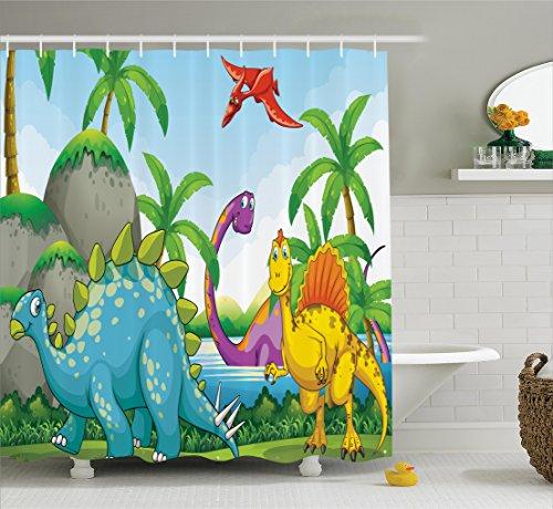 Dinosaur Ambesonne Jurassic Illustration Lakeside
