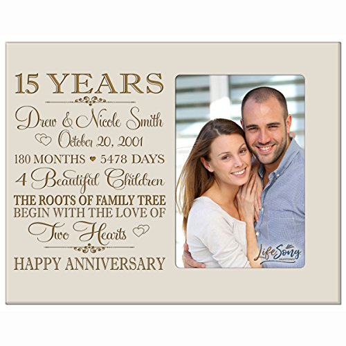 Personalized Fifteen year anniversary gift for her him couple Custom Engraved wedding gift for husband wife girlfriend boyfriend photo frame holds 4x6 photo by LifeSong Milestones (ivory) by LifeSong Milestones