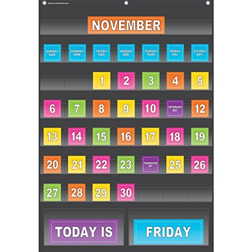 Teacher Created Resources Black Calendar Pocket Chart (20748) by Teacher Created Resources (Image #1)