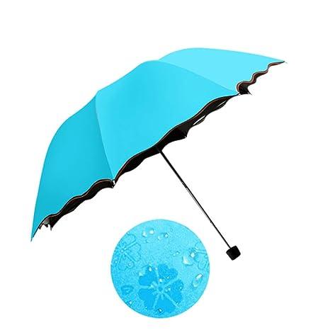 Espeedy Simple moda mujeres paraguas a prueba de viento bloqueador solar magia cúpula de flor ULTRAVIOLETA