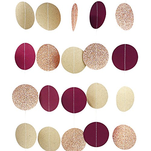 NICROLANDEE Burgundy Paper Garland Rose Gold Glitter Dots Hanging Party Garland for Maroon Wedding Baby Shower Bridal Shower Valentines Hen Night Party Decorations 3 Pack/Set 9.8FT Long