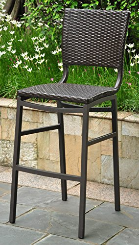 (International Caravan 523690 Wicker Resin/Aluminum Patio Bar Stool, Set of 2,)