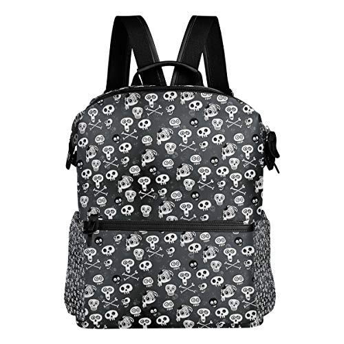Travel Laptop Backpack Skull Halloween Monochrome Durable College School Computer Bookbag for Outdoor (Monochrome Halloween Costume)