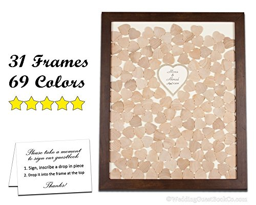 Unique Wedding Guest Book Alternative, Wooden Drop in the Top Hearts Frame