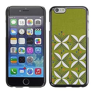 FECELL CITY // Duro Aluminio Pegatina PC Caso decorativo Funda Carcasa de Protección para Apple Iphone 6 // Floral Pattern Minimalist Moss