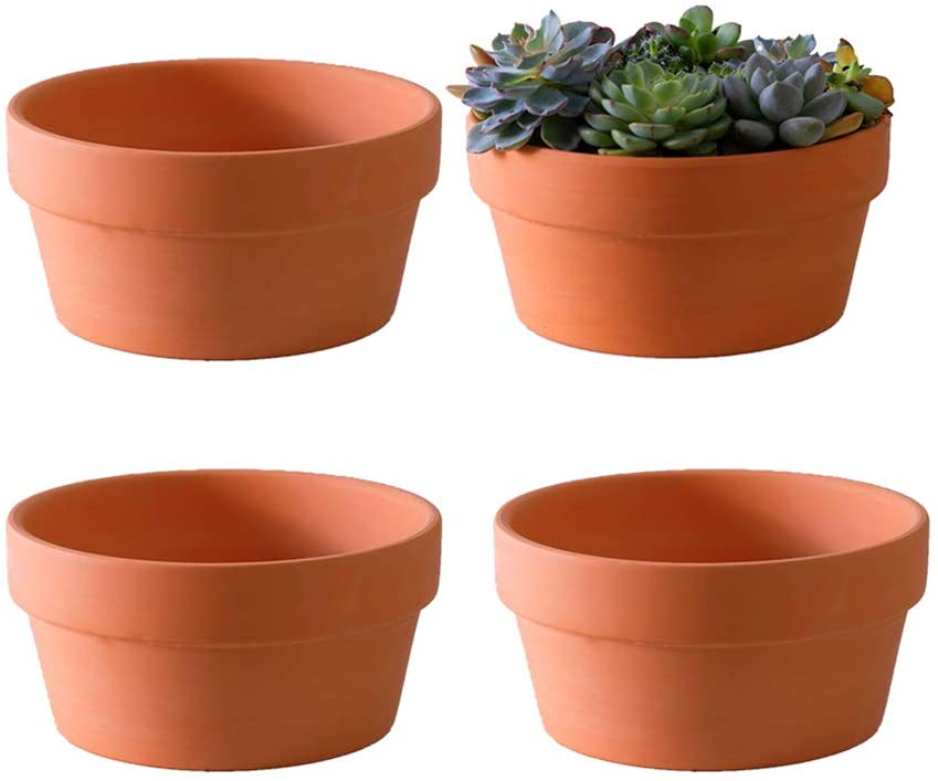 Amazon Com Yishang Terracotta Shallow Planters For Succulent 7 Inch Cactus Plant Containers Indoor Garden Bonsai Pots With Drainage Hole Set Of 4 Unglazed Clay Ceramic Pottery Planter Home Kitchen