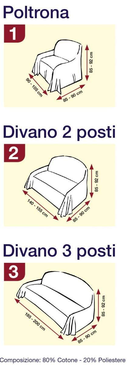 Biancheria Store COPRIDIVANO 3 POSTI 100/%Cotone Panna Tinta Unita Copri Divano Laccetti Tre POSTI Versatile Panna