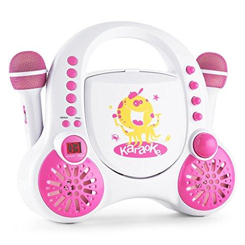 auna Rockpocket Karaoke Anlage für Kinder (CD-Player, 2 x Mikrofon, AUX-Eingang, Sticker Set) weiß