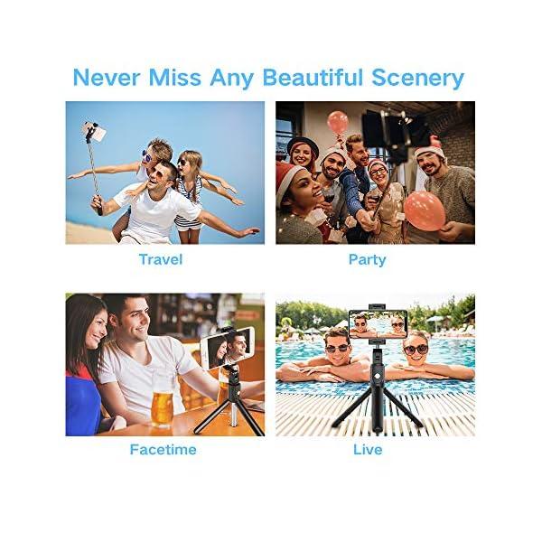 doosl Bastone Selfie Bluetooth, Selfie Stick Monopiede, Mini Estensibile 3 in 1 Selfie Stick Treppiede con Telecomando Wireless per Smartphone 7 spesavip