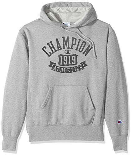 Fleece Hooded Oxfords - Champion Men's Heritage Fleece Pullover Hoodie, Oxford Gray/Shield Arch, 2X-Large