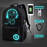 Gotd Unisex Light Teenagers USB External Charging Laptop Noctilucent Cartoon School Bags Student Backpack (Black)
