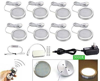 Xking 8 Pcs Dimmable LED Lights LED Under Cabinet Lighting and RF Controller, LED Closet Lights, DC12V, 3000K Warm White