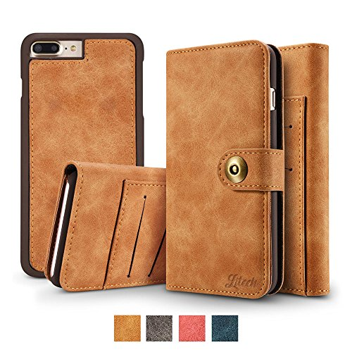 (Litech™[Premium] Case for iPhone 7 Plus/iPhone 8 Plus, Wallet Case with Magnetic Detachable Slim Case, Luxury Vintage Faux Suede Leather, 2 in 1 Flip Folio Wallet [Gift Package] (Brown))