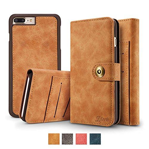 (Litech™[Premium] Case for iPhone 7 Plus/iPhone 8 Plus, Wallet Case with Magnetic Detachable Slim Case, Luxury Vintage Faux Suede Leather, 2 in 1 Flip Folio Wallet [GIFT PACKAGE] - Khaki Brown)