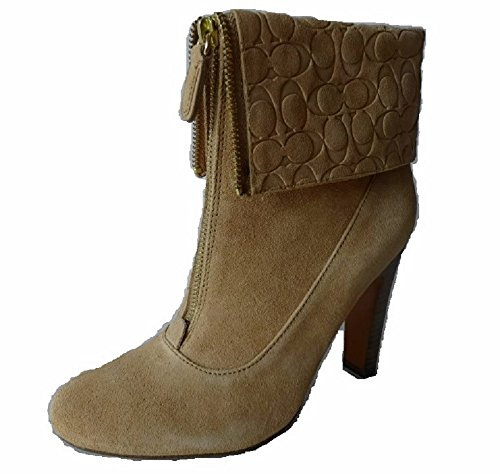 Coach Hayley Ankle Bootie Women Shoes Heels Suede, Light Camel 10 M