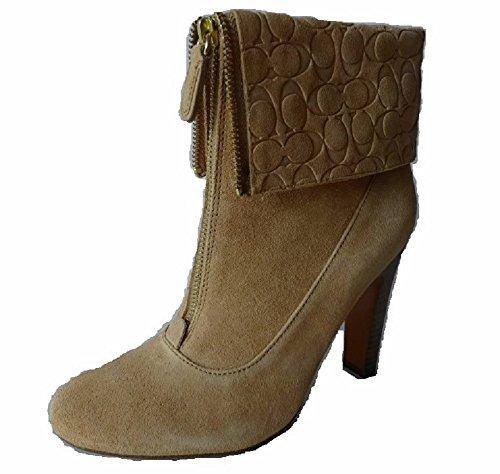 Coach Hayley Ankle Bootie Women Shoes Heels Suede, Light Camel 10 M
