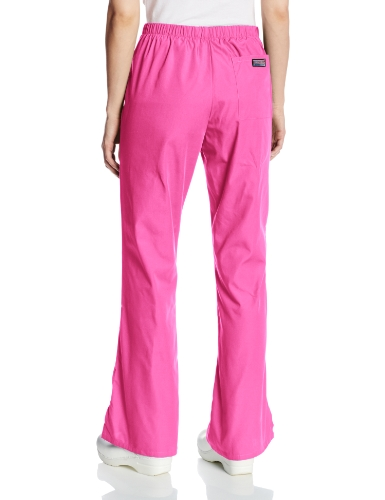 Cherokee Women's Fashionable Flare Leg Drawstring Pant, Shocking Pink, X-Small Petite