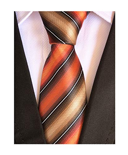 Orange Black Tan Neckties Silk for Men Suit Fitness Dating Fashion Prom Slim Tie (Chain Silk Necktie)