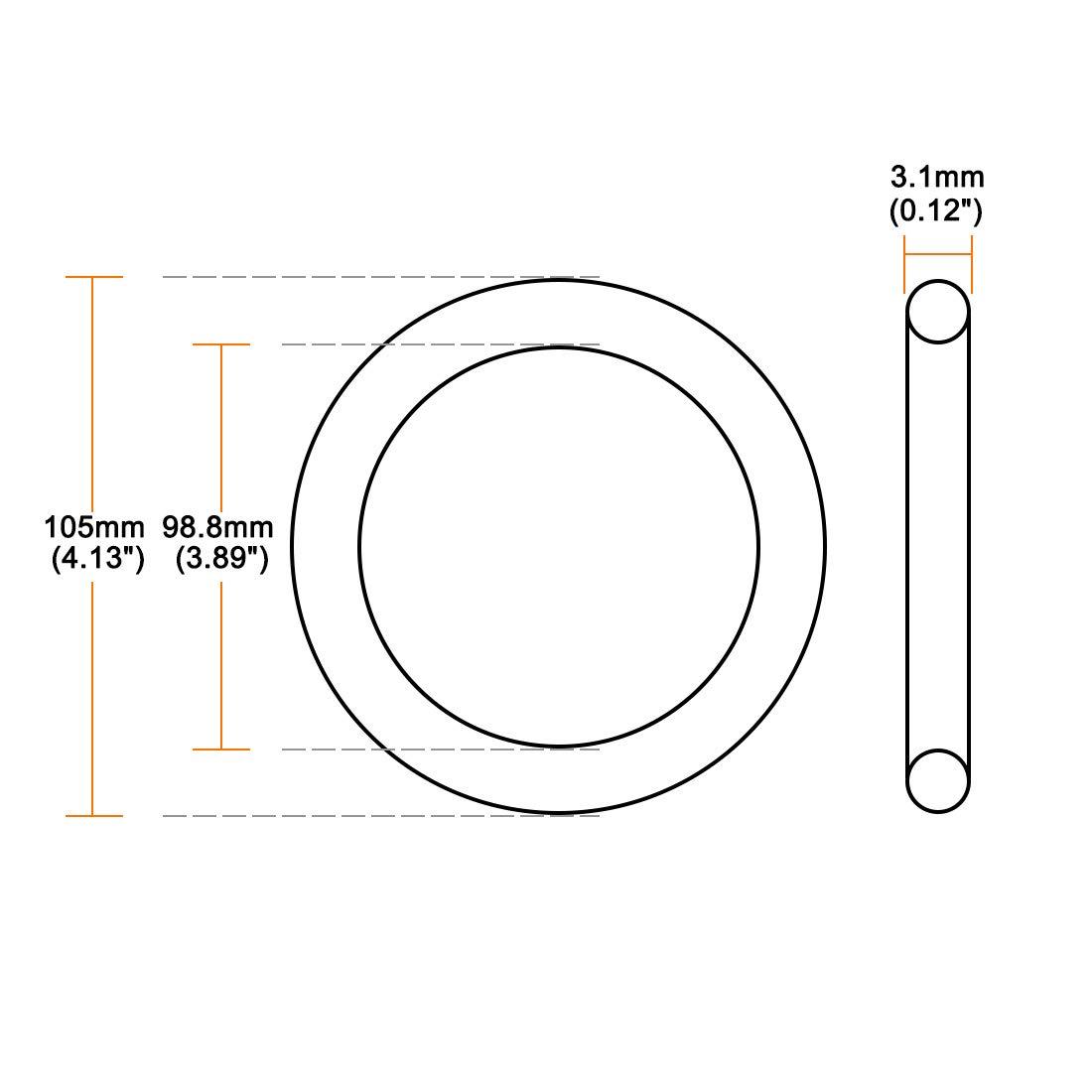 sourcing map Joint torique en caoutchouc nitrile 98.8mm x 105mm x 3.1mm Joint d/étanch/éit/é 10pcs