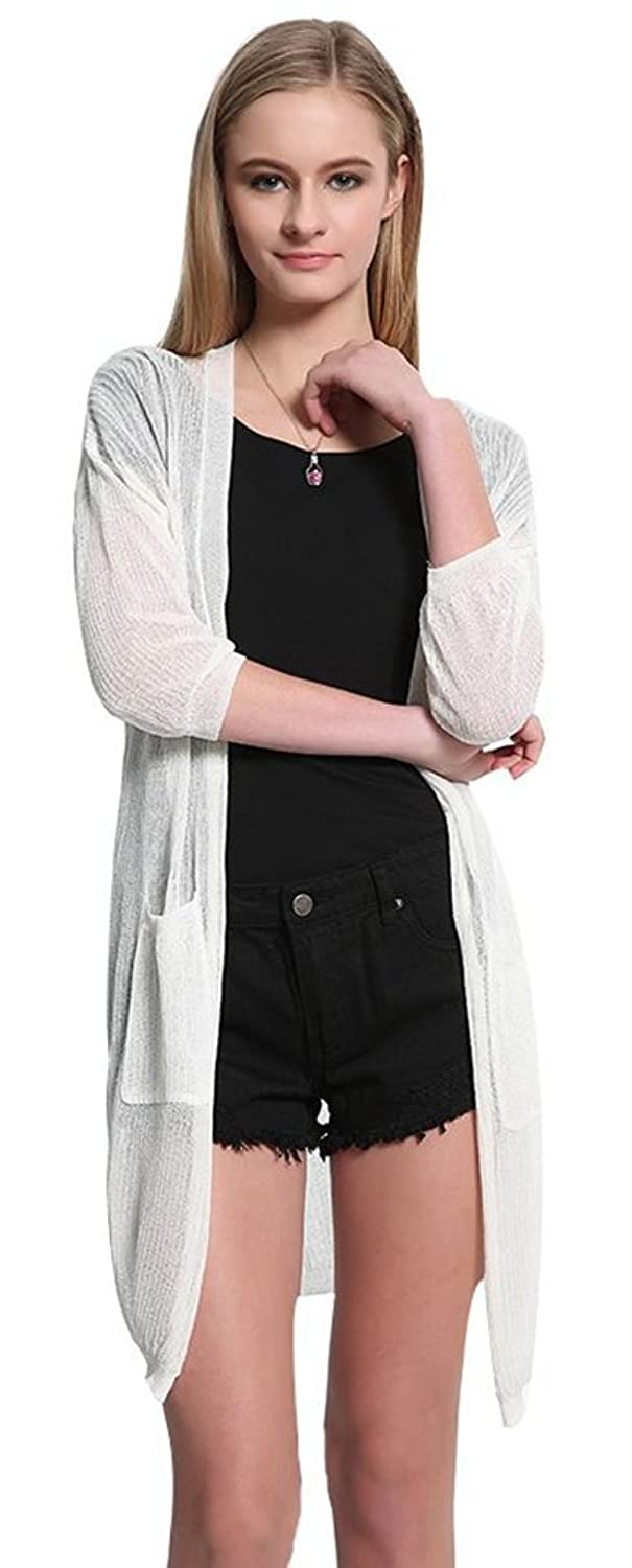 BlingZoe Women's Knit Long Sleeve Open Front Cardigan Sweater with Pockets