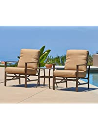 suncrown outdoor furniture aluminum chairs with glass top table bistro set 3piece set