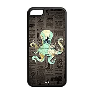 MMZ DIY PHONE CASESea World Map Octopus Dictionary Background Personalized Design Case Cover for iphone 5/5s