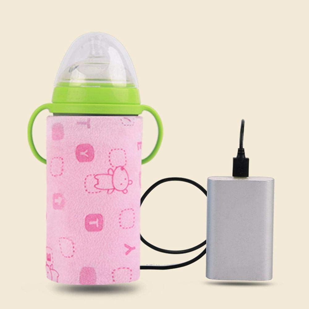 ELEC TECH Baby Bottle Heat Insulated Cover Milk Warmer Heater Baby Bottle Holder Car Vehicle Travel Water Bottle Cup with USB Charging Port to Keep Warm
