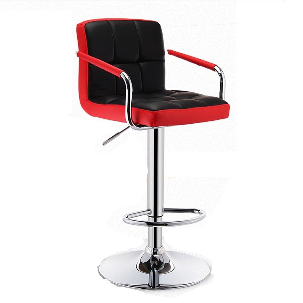 XIAOYAN バースツール朝食スイベルスツールキッチンスツール調節可能な椅子、背もたれとアーム付きバーキッチンホーム (色 : Red B) B07DR8KL92 Red B Red B