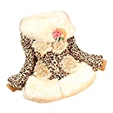 JIANLANPTT Children Girls Faux Fox Fur Collar Coat Leopard Winter Wear Outerwear Kids Jackets 6-7Years Leopard 2