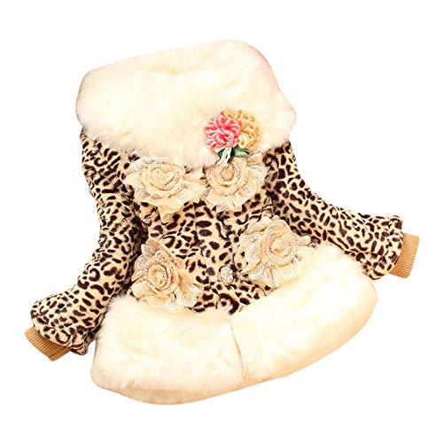 JIANLANPTT Children Girls Faux Fox Fur Collar Coat Leopard Winter Wear Outerwear Kids Jackets 6-7Years Leopard 2 -