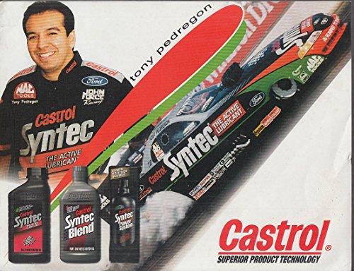 (Tony Pedregon Castrol AA Fuel Mustang Funny Car NHRA promotional card 1997)