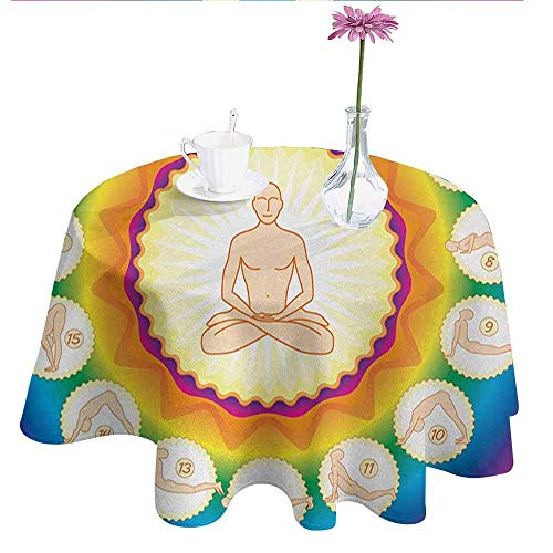 (DouglasHill Yoga Printed Tablecloth Yogi in The Lotus Posture and Exercises in Several Positions Surya Namaskar Vitality Desktop Protection pad D55 Inch Multicolor )