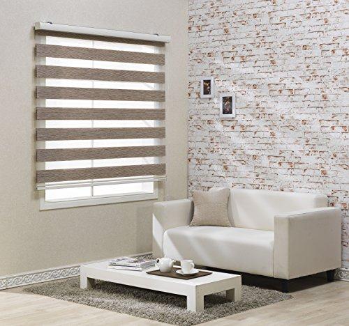 Custom Cut to Size , [Winsharp Combi Elsa] Roller Zebra Fabric Shade Horizontal Window Blinds & Treatments , Brown , W 35 x H 55 (Inch) , 92 Inch Wide by 72 Inch Long